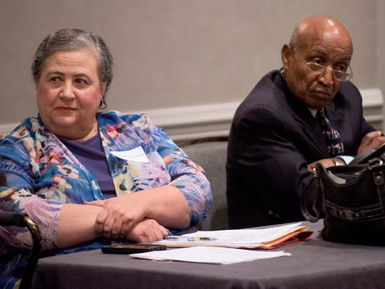 Nancy Worley and Joe Reed listen at a meeting of the Alabama Democratic Conference in Hoover, Ala. on Friday October 16, 2015. The party chair and vice-chair of minority affairs said in separate interviews Thursday they won't attend a called meeting of the State Democratic Executive Committee on Saturday.
