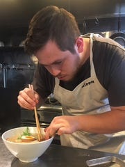 Josh Boles is the chef at Moon Rabbit Ramen, insdie
