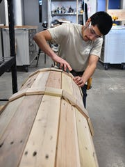 Construction Technology student Michael Morales works
