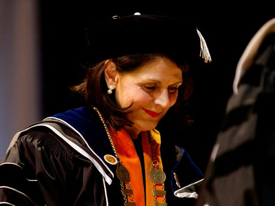 "University of Tennessee Chancellor Beverly Davenport attends her ""investiture"" ceremony at the Alumni Memorial Building in Knoxville on Oct. 13, 2017."
