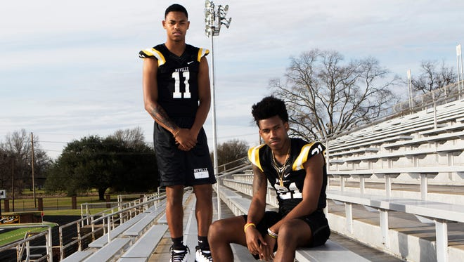 """Neville cornerbacks Kenderick """"Bunny Rabbit"""" Marbles (11) and Corey Straughter (21)  have committed to play at ULM next year."""