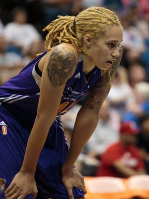 Jun 27, 2015: Phoenix Mercury center Brittney Griner (42) waits for a free throw in the fourth quarter against the Minnesota Lynx at Target Center. The Minnesota Lynx beat the Phoenix Mercury 71-56.