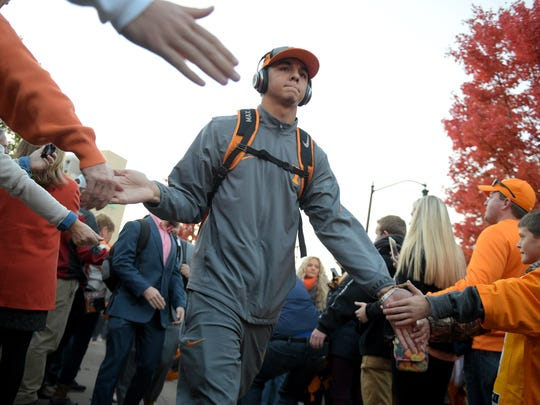 Tennessee backup quarterback Jarrett Guarantano (2) greets fans before the game between Vanderbilt and Tennessee at Vanderbilt Stadium on Nov. 26, 2016, in Nashville.