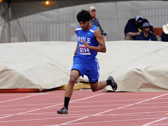 Rule's Chase Thompson turns the corner during the Class 1A boys 400-meter dash at the UIL State Track and Field Championships at the University of Texas' Mike A. Myers Stadium in Austin on Saturday, May 12, 2018. Thompson won gold with a time of 49.69 seconds.
