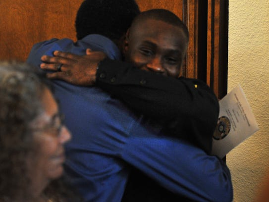 Wichita Falls Police Academy graduate James Davis receives