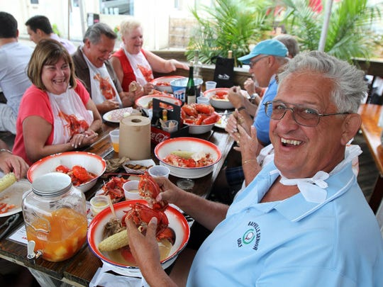 John Schnitzer of Bayville gets ready to dig into some lobster at Boondocks Fishery in Red Bank.