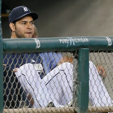 Anibal Sanchez sitting on the bench watching in the early innings of their 7-2 loss to the Seattle Mariners in Detroit on Friday, August 15, 2014.