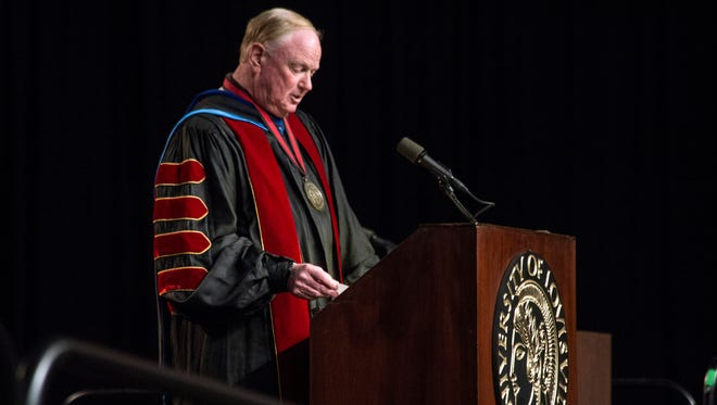 UofL President Dr. James R. Ramsey makes an opening statement during the 2015 commencement ceremonies on Sunday afternoon. 5/10/15