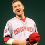 Reds third baseman Todd Frazier reacts in the field during Tuesday's game against the Pittsburgh Pirates at PNC Park.