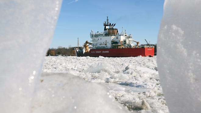 U.S. Coast Guard cutter Mackinaw breaks ice Monday, Jan 26, in the St. Clair River in Algonac.