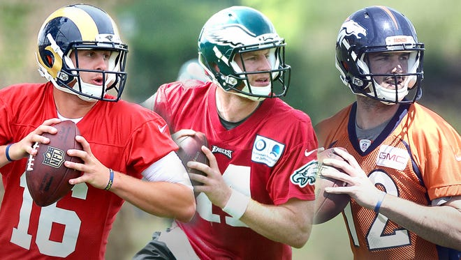 (From left) Rookie QBs Jared Goff, Carson Wentz and Paxton Lynch.