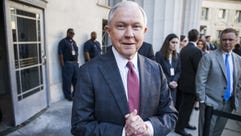 Attorney General Jeff Sessions departs after speaking