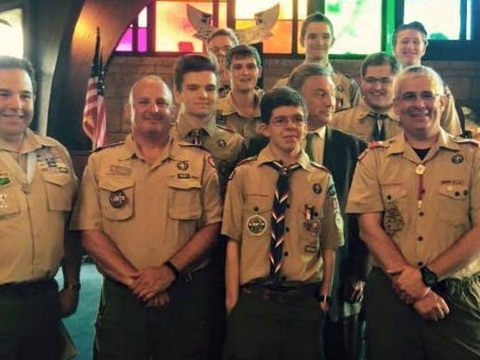 """Joining the Scouts for an """"Eagles nest"""" were adults who attained the rank of Eagle and sat together at the ceremony: (front, l-r): Alan Grossman, Scott Zederbaum, Robert Facchini, Joseph Facchini; second row: Gregory Stier."""