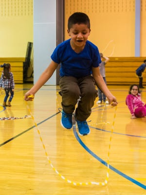 Yariel Hernandez Escobar jump ropes for Jump Rope for Heart at Deerfield Township School on Thursday, February 15.
