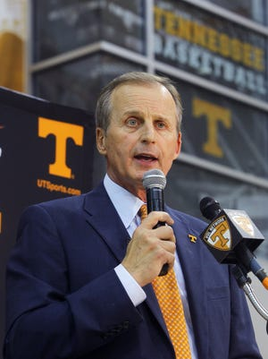 Rick Barnes addresses reporters after being named the new coach of the Tennessee men's basketball team.