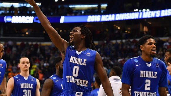 MTSU players celebrate after the game Friday.