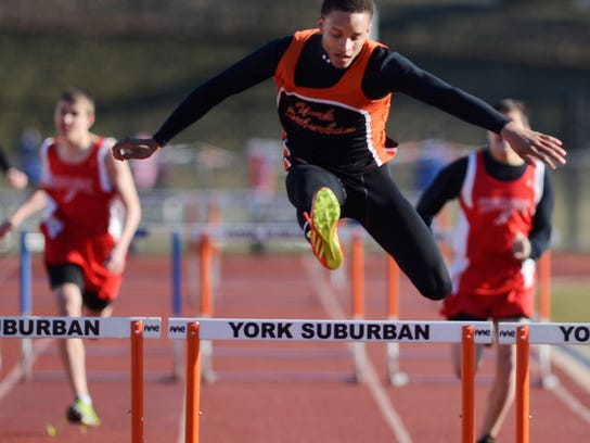 York Suburban's Chandler Draughn helped the Spartans win the boys Division II running trophy Saturday at the Herb Schmidt Relays. (Daily Record/Sunday News -- Kate Penn)