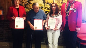 The Manitowoc Elks Lodge 687 recently presented its Grand Lodge Awards with Exalted Ruler Steve Brogan presenting. Pictured, from left, is Doris Hartman, Roger Hansen, Kari Brogan and Brogan.