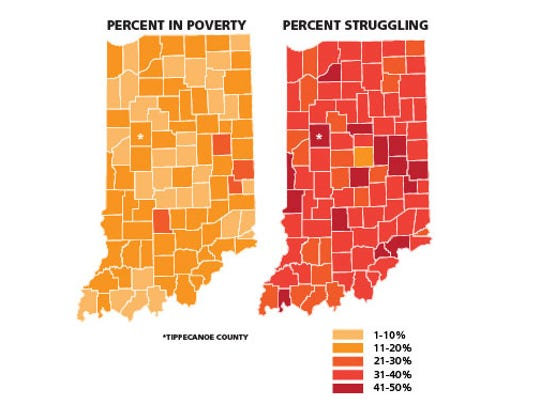 A picture of Indiana's working poor. LEFT: Poverty