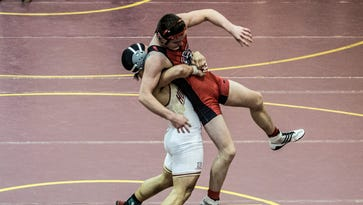 Joey Harrell of Licking Heights placed first in the 170 weight class after taking down Michael Jude of Fairfield Union at the Licking Heights wrestling invitational Saturday.