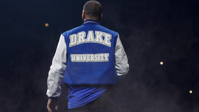 Hip-hop artist Drake wears a Drake University letter jacket to his performance to a sold out crowd on Tuesday, Oct. 4, 2016, at Wells Fargo Arena in Des Moines.
