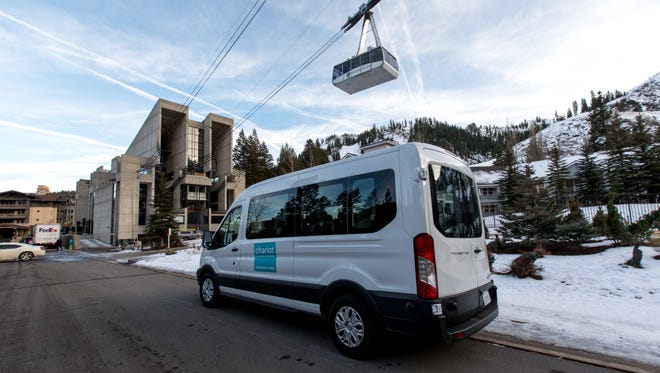 Vans like this one will carry passengers between Squaw Valley and Alpine Meadows as part of a pilot program to test an app-based transit service. It's a partnership between Squaw Alpine and transit provider Chariot. Dec. 21, 2016