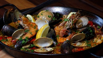 Paella Mariscos at Barcelona Wine Bar.