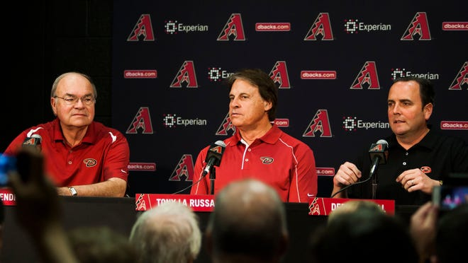 Diamondbacks Managing General Partner Ken Kendrick (from left), Tony La Russa and President & CEO Derrick Hall hold a news conference at Chase Field on May 17, 2014.
