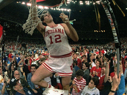 Indiana's Steve Alford cuts the net March 30, 1987 at the Superdome after Indiana defeated Syracuse for the NCAA championship in New Orleans.