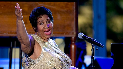 FILE - In this April 29, 2016 file photo, Aretha Franklin performs at the International Jazz Day Concert on the South Lawn of the White House of the Washington. Officials in charge of fixing up Franklin's childhood home in Memphis, Tenn., say they are working with the DIY Network to move the crumbling structure to a safer location and make it more attractive for visitors.  A judge had ordered it demolished, but he put that order on hold after preservationists stabilized the house.