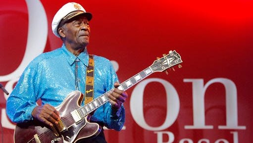 FILE - In this Nov. 13, 2007, file photo, legendary U.S. musician Chuck Berry performs on stage at the Avo Session in Basel, Switzerland. Berry's family announced in a statement Wednesday, March 29, 2017, that a public viewing will be held from 8 a.m. to noon April 9 at The Pageant club, where Berry frequently performed in his hometown of St. Louis. That will be followed by a service for Berry's family and friends, including those in the music industry.