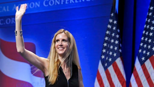 """FILE - In this Feb. 12, 2011 file photo, Ann Coulter waves to the audience after speaking at the Conservative Political Action Conference (CPAC) in Washington. Coulter's planned appearance at the University of California, Berkeley on April 27 has been canceled because of security concerns. UC Berkeley officials say they were unable to find """"a safe and suitable"""" venue for the right-wing provocateur, whom campus Republicans had invited to speak."""