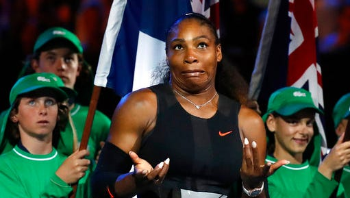FILE - In this Jan. 28, 2017, file photo, Serena Williams reacts after defeating her sister Venus during their women's singles final at the Australian Open tennis championships in Melbourne, Australia. Williams said on April 25, 2017, at the TED2017 Conference in Vancouver, British Columbia, that she was taking a personal photo of her progressing pregnancy on Snapchat when she accidentally pressed the wrong button and made the post public last week.