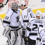 The Los Angeles Kings celebrate their 3-1 win over