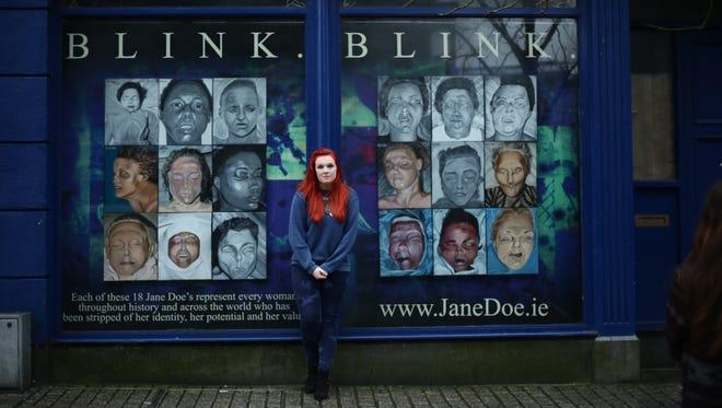 Sarah Honan in front of her Blink exhibit.
