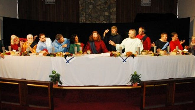 For FLORIDA OTDAY A cast of performers from Grace United Methodist Church recreate the Last Supper, portraying Jesus? final meal with his disciples in an Easter season drama that will be performed twice in Brevard County this year.