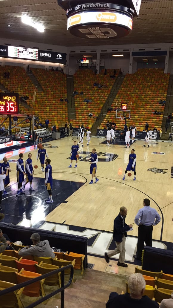 SDSU warms up prior to the championship game of the