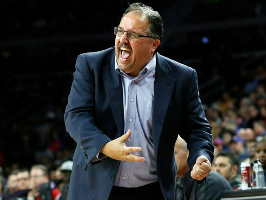 FILE - In this March 6, 2016 file photo, Detroit Pistons coach Stan Van Gundy reacts after the Pistons turned over the ball against the Portland Trail Blazers during the second half of an NBA basketball game in Auburn Hills, Mich. Stan Van Gundy has appeared to make all the right moves in the front office and on the court to help the Detroit Pistons make the playoffs for the first time since 2009.  (AP Photo/Duane Burleson, File)