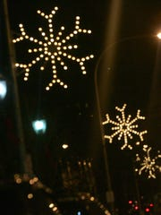 Snow flake holiday lights adore Martine Avenue in White Plains.