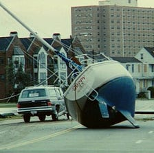 A sailboat left in the street after Hurricane Hugo swept through Charleston