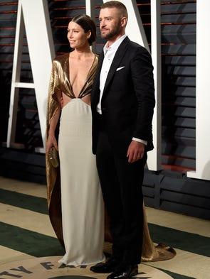 Jessica Biel, left, and Justin Timberlake arrive at