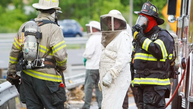Beekeepers and firefighters view damage after a truck rollover released millions of bees south of Newark, Del.
