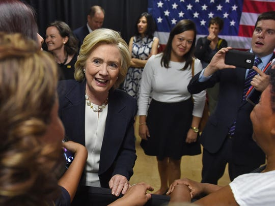 Presidential Candidate Hillary Clinton works the crowd after a roundtable discussion with veterans at the VFW Historic Post 9211 in Reno, Nev. on June 18, 2015.