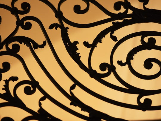 Close-up photo of a railing at the mansion where Greenbaum Interiors is working in Saratoga Springs.