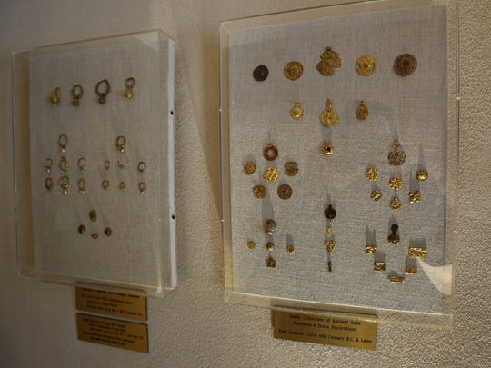 Ancient gold earrings, pendants and dress decorations are displayed at the home of Varda Singer March 12, 2018 in Chappaqua. Singer is the owner of ICD Contemporary Jewelry in Chappaqua. Through the years she has collected many artifacts from her travels that give her inspiration.