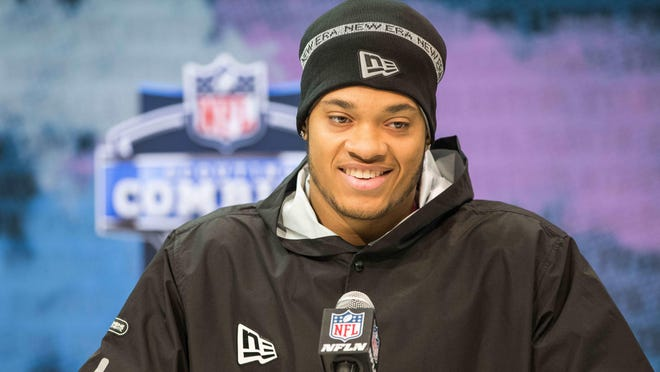 Penn State defensive lineman Yetur Gross-Matos addresses the media at the NFL Combine in Indianapolis in February.