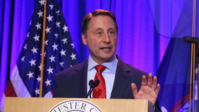 Westchester County Executive Rob Astorino at his April 21 State of the County address. Astorino discussed public-private partnerships including proposed leasing out county owned land to the developer of a $1.2 billion biotech center in Valhalla.