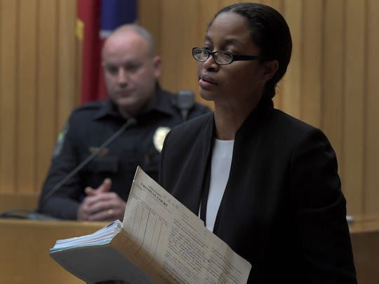 Knox County Assistant District Attorney TaKisha Fitzgerald  during testimony during the Zaevion Dobson slaying trial in Knox County Criminal Court on Friday, Dec. 8, 2017.