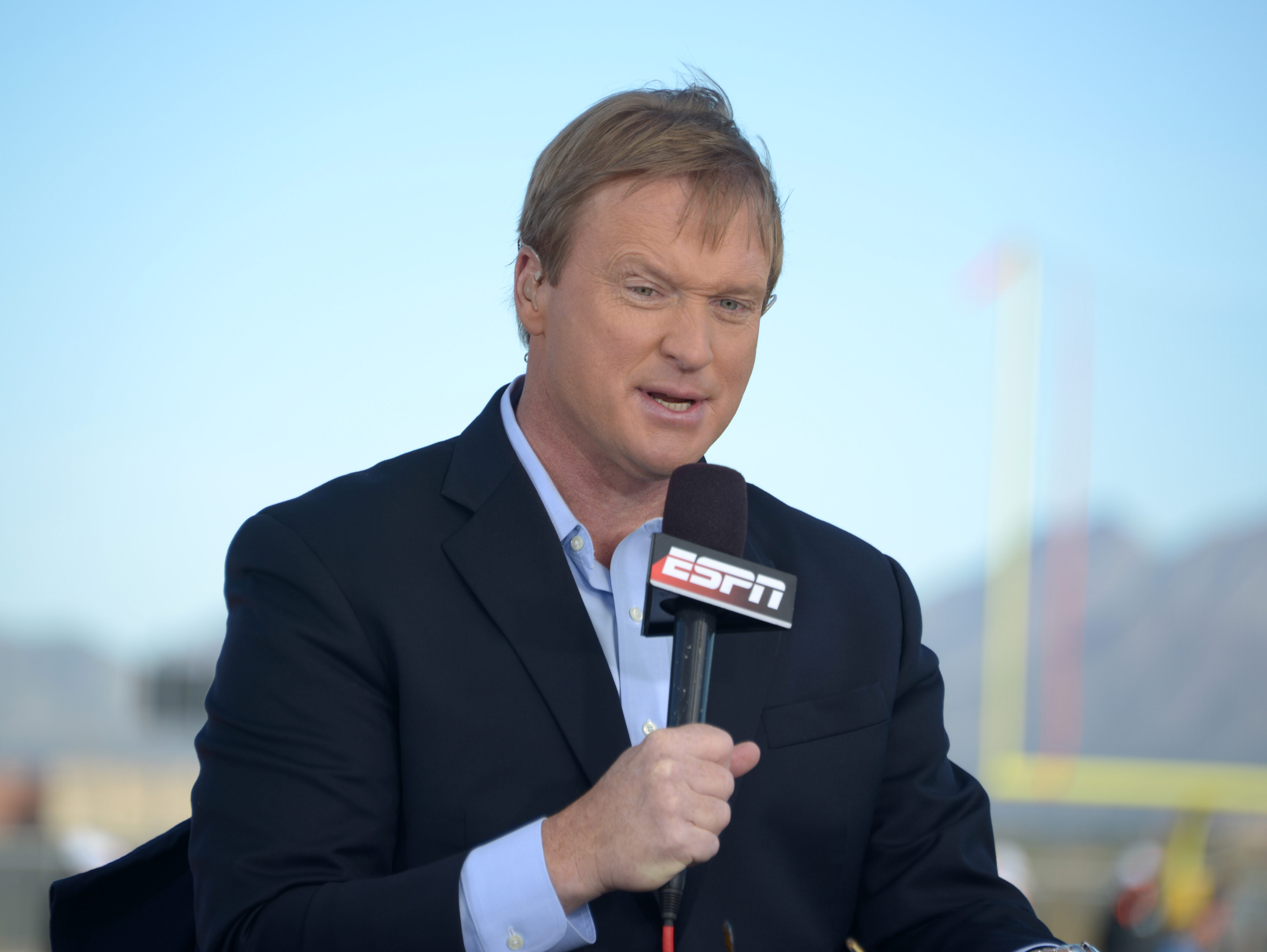 ESPN broadcaster and former Tampa Bay Buccaneers and Oakland Raiders coach Jon Gruden.
