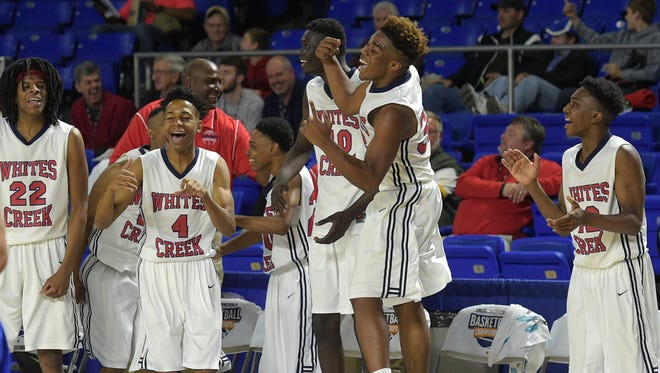 Whites Creek players begin to celebrate on the bench during a game against Westview during TSSAA Class AA state quarterfinals at MTSU's Murphy Center on Thursday March 17, 2016.  Whites Creek won 100-76.